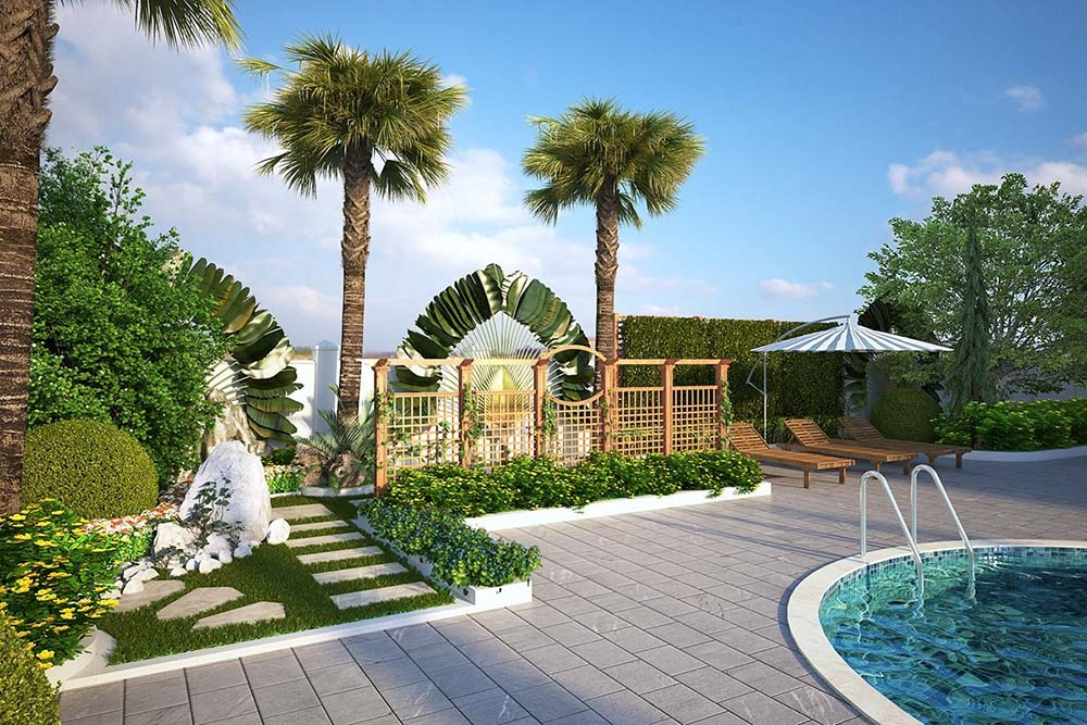 Sân vườn xanh mát bao quanh bể bơi tạo không gian xanh mát
