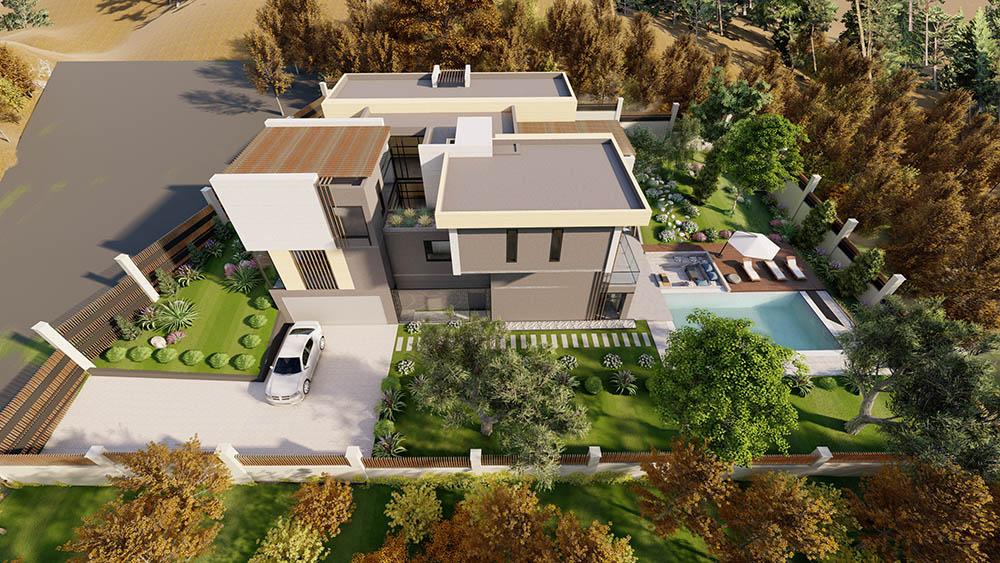 Kiến trúc biệt thự 3 tầng với vườn cây xanh mát bao quanh