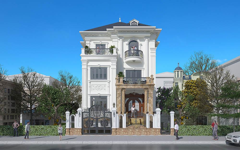 Biệt thự 3 tầng phong cách tân cổ điển siêu nguy nga tráng lệ