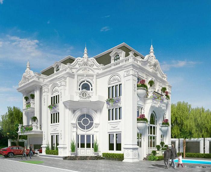Biệt thự 4 tầng tân cổ điển kiến trúc nguy nga tráng lệ nhất