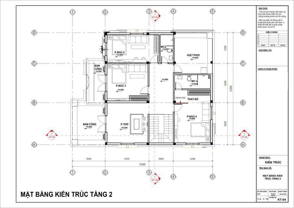 Mặt bằng tầng 2 có 3 phòng ngủ đẳng cấp cùng phòng thờ