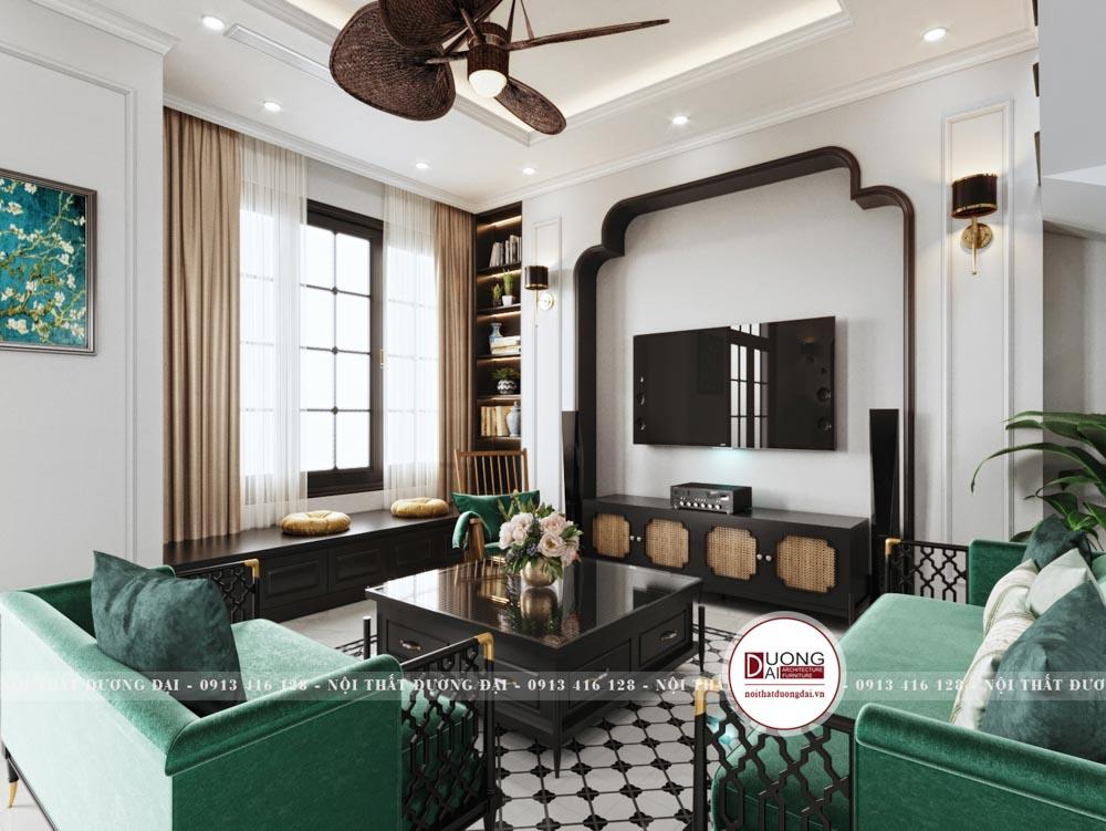 Bộ sofa màu xanh rêu cao quý và đầy sang trọng