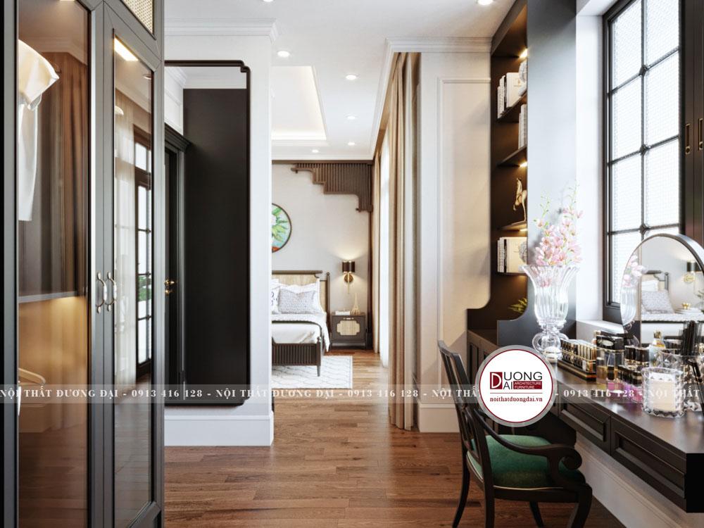 Không gian phòng ngủ được chia thành nơi nghỉ ngơi và phòng thay đồ
