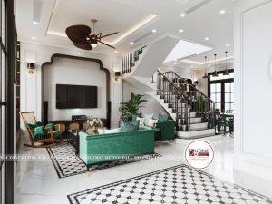 Không gian phòng khách đầy uy nghi với cách phối màu ấn tượng