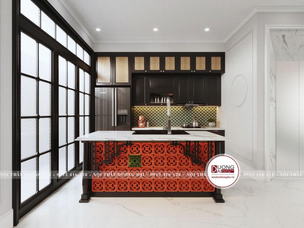 Tủ bếp cùng đảo bếp gỗ mang đậm nét văn hóa Đông Dương