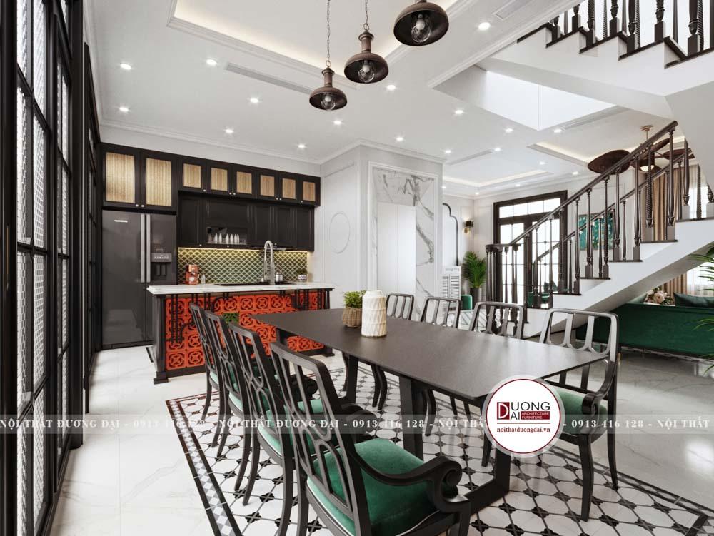 Thiết kế không gian phòng ăn trang nhã với bàn ăn gỗ