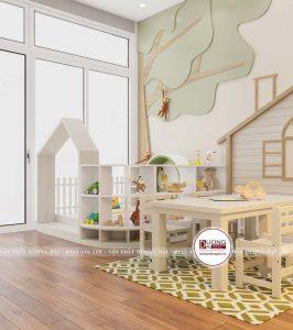 Bàn ghế ăn được làm từ gỗ công nghiệp có độ bền cao, an toàn cho bé