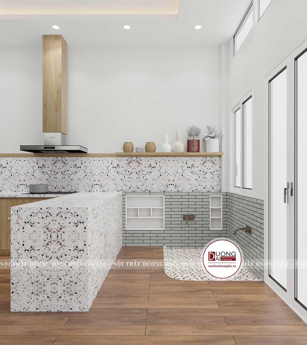 Không gian phòng bếp được thiết kế bằng đá và gạch lát tinh tế, sang trọng
