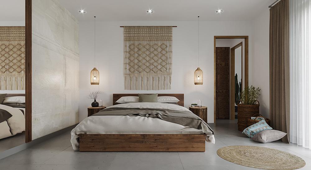 Phòng ngủ trang nhã với màu sắc ấm áp, dễ chịu