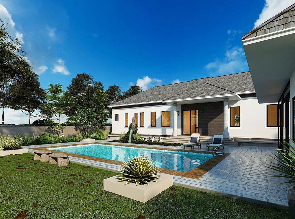 Thiết kế bể bơi chuẩn phong thủy sang trọng trước cửa nhà