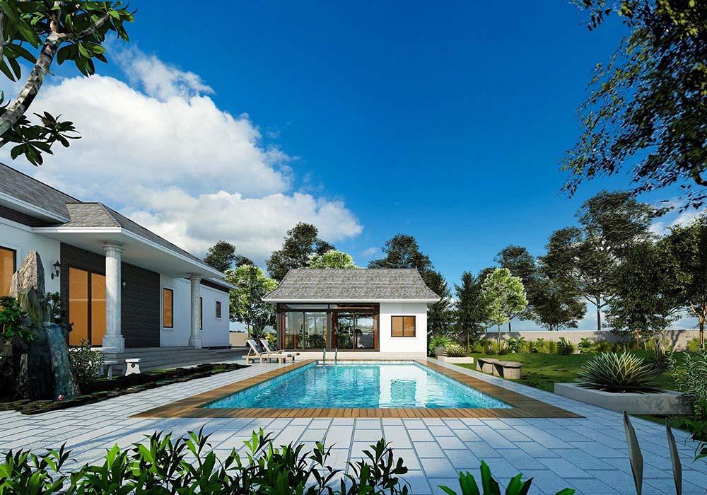 Biệt thự 1 tầng có bể bơi hiện đại siêu xa hoa và đẳng cấp