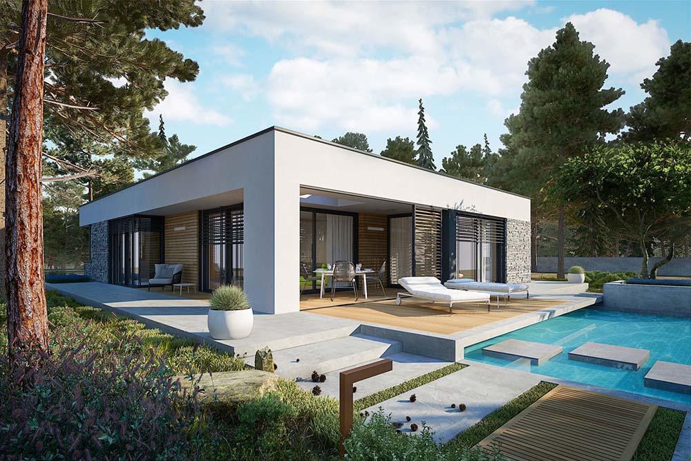 Thiết kế biệt thự sang trọng có bể bơi xanh mát trước cửa