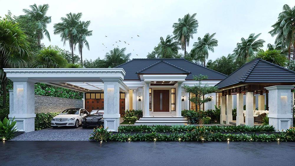 Không gian được thiết kế hài hòa từ sân vườn đến kiến trúc hiện đại