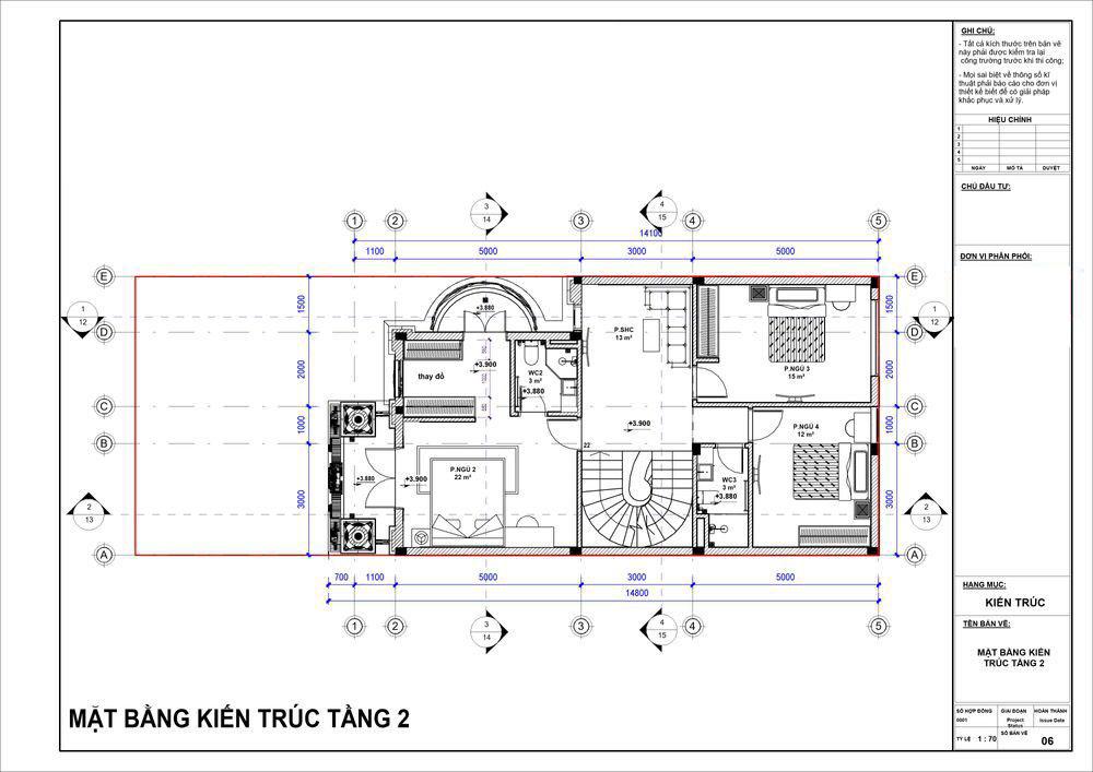 Mặt bằng công năng tầng 2 siêu tiện nghi với 3 phòng ngủ lớn