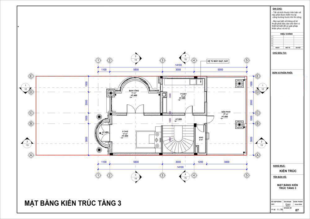 Mặt bằng tầng 3 được dùng làm phòng thờ và sân thượng nghỉ mát