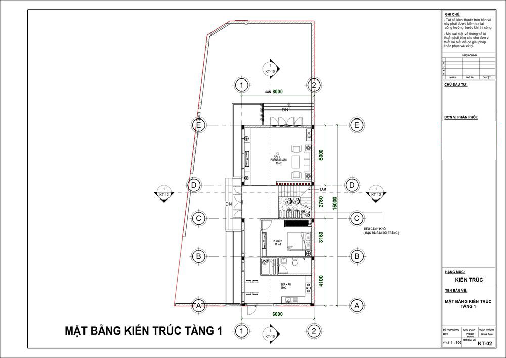Biệt thự 100m2 với mặt tiền 6m cùng thiết kế phòng khách, bếp chuẩn phong thủy