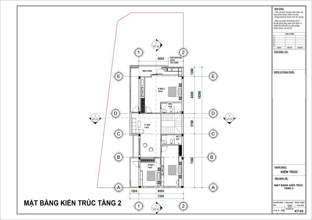 Mặt bằng tầng 2 có 3 phòng ngủ cùng phòng sinh hoạt chung
