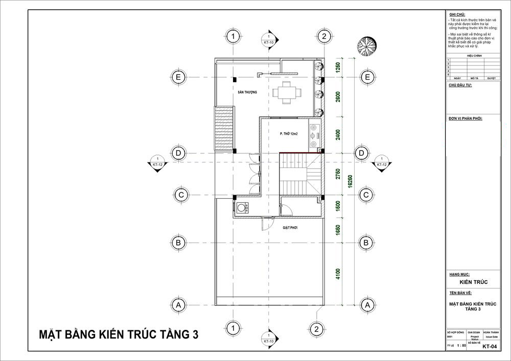 Tầng 3 là không gian phòng thờ cùng sân thượng lớn bao quanh