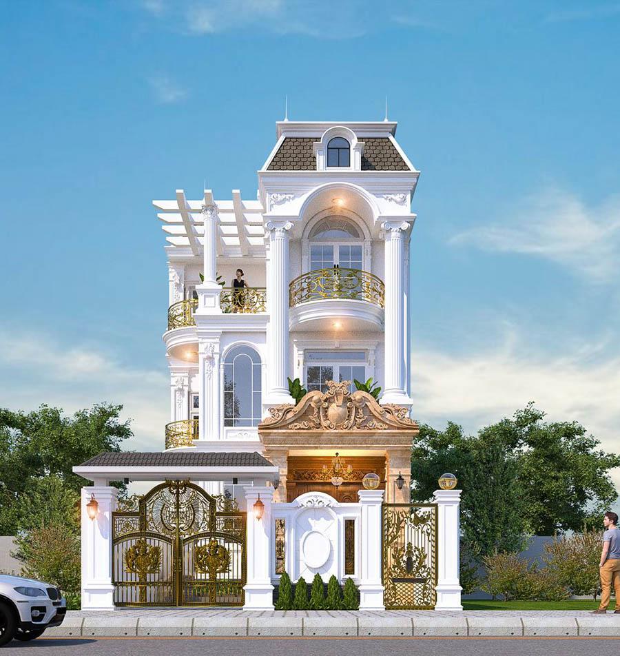Kiến trúc biệt thự tân cổ điển uy nghi với hoa văn sang trọng