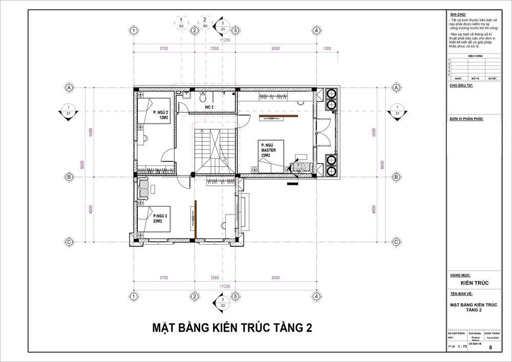 Mặt bằng tầng 2 siêu tiện nghi với 3 phòng ngủ