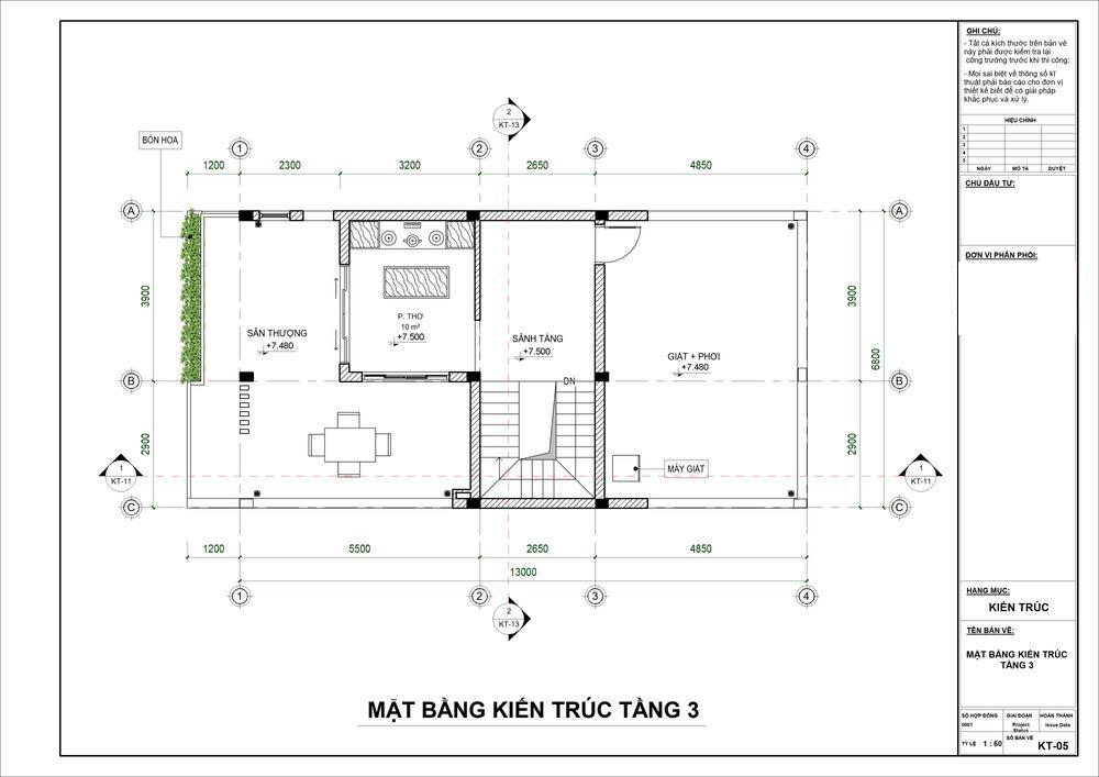 Không gian tầng 3 làn sân thượng lớn cùng phòng thờ trang nghiêm