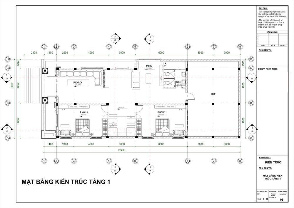 Mặt bằng công năng tầng 1 với phòng khách và bếp siêu rộng rãi