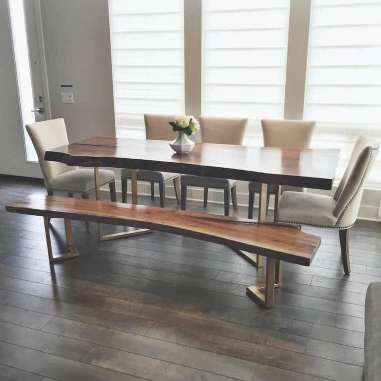bàn ăn nguyên tấm với ghế băng dài