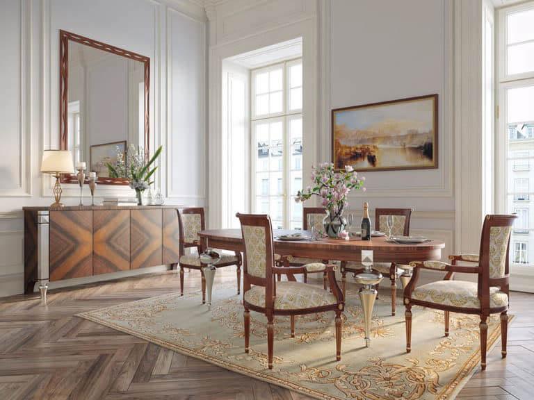 Bộ bàn ghế tân cổ điển từ gỗ óc chó
