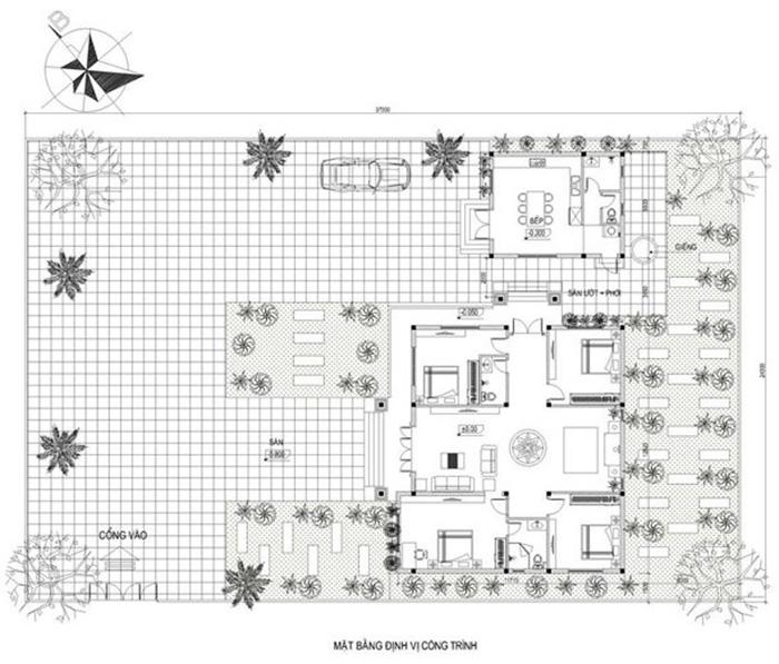 Mặt bằng công năng biệt thự 120m2 có 4 phòng ngủ tiện nghi