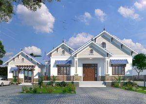 Biệt thự mái thái 1 tầng sang trọng với nét đẹp tân cổ điển