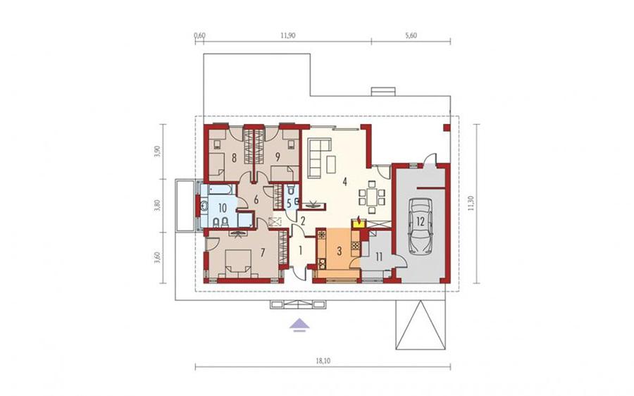 Biệt thự nhà vườn với mặt bằng 3 phòng ngủ