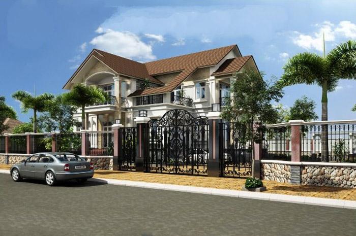 Thiết kế biệt thự nhà vườn hiện đại với sân vườn rộng