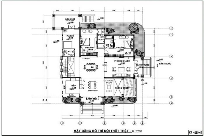 Mặt bằng tầng 1 với các phòng khách, 3 phòng ngủ và phòng thờ trang trọng