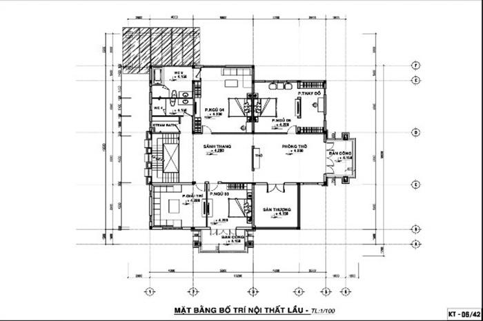 Thiết kế mặt bằng tầng 2 với các phòng ngủ diện tích rộng cùng phòng giải trí