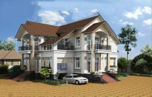 Biệt thự mái thái cao cấp với mặt tiền rộng 17m