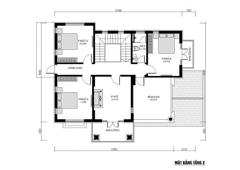 Tầng 2 có 3 phòng ngủ cùng phòng thờ trang nghiêm của gia đình