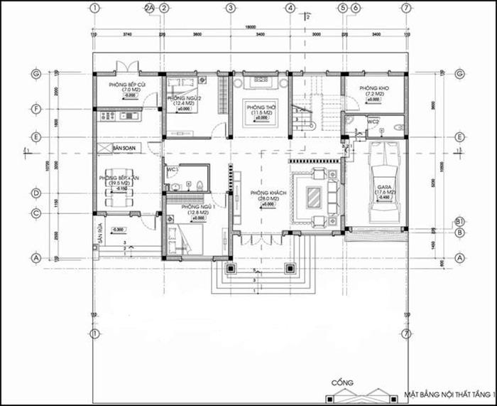 Mặt bằng công năng tầng 1 với phòng khách, bếp, phòng thờ và 2 phòng ngủ