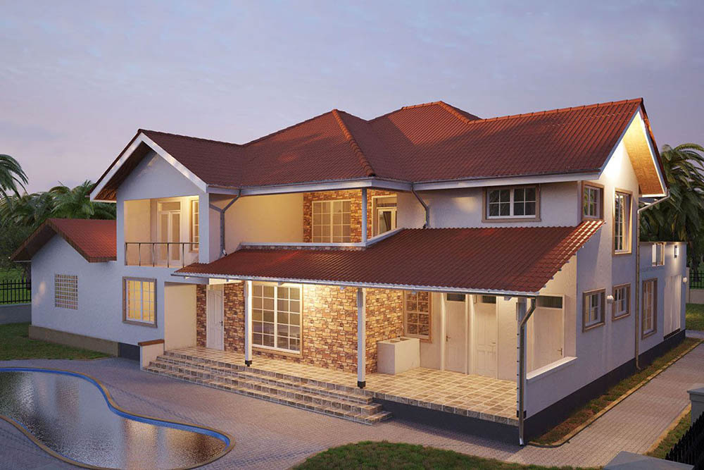 Mẫu thiết kế bể bơi hình số 8 nhỏ xinh trước biệt thự 2 tầng mái đỏ