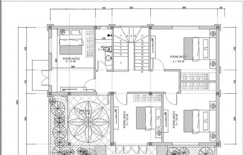 Mặt bằng tầng 2 với 4 phòng ngủ tiện nghi cho gia đình