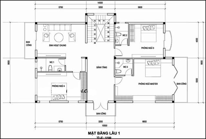 Thiết kế 3 phòng ngủ cùng phòng sinh hoạt chung của gia đình
