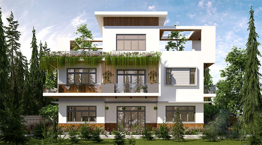 Thiết kế biệt thự 3 tầng có không gian sân vườn xanh mát