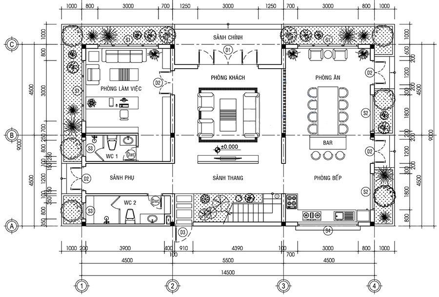 Mặt bằng công năng tầng 1 với phòng khách trung tâm, hai bên là phòng bếp và phòng làm việc