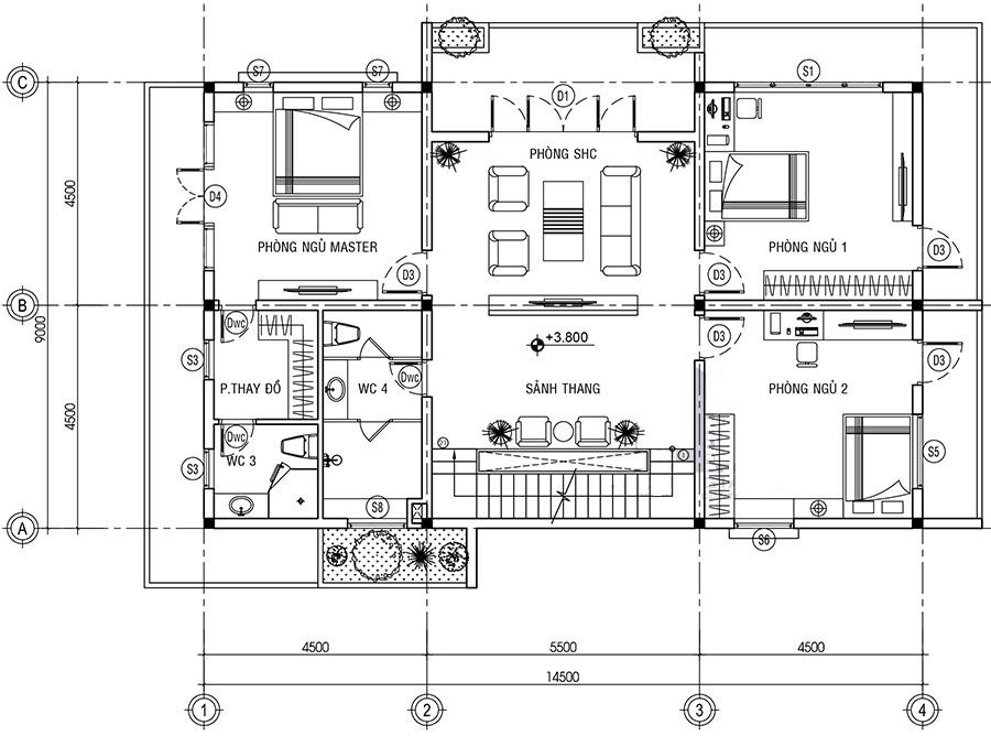 Thiết kế nội thất phòng ngủ ở tầng 2
