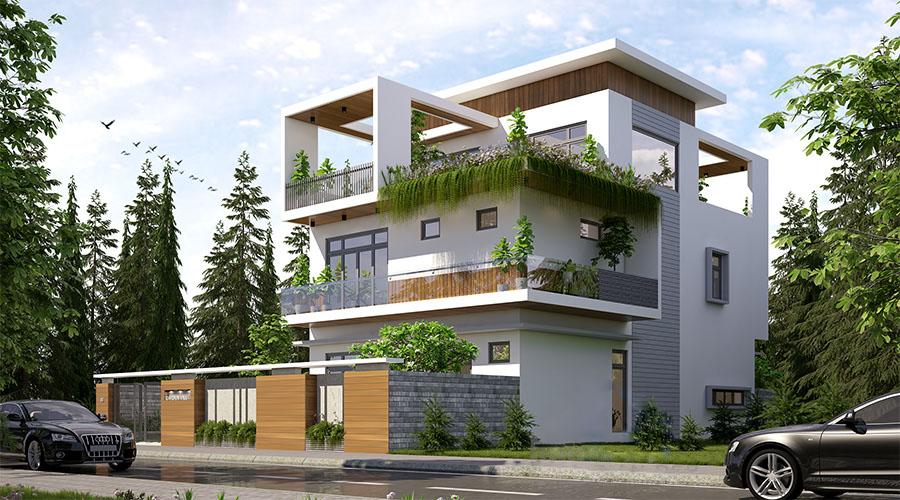 Kiến trúc biệt thự 3 tầng với mặt tiền 14m rộng rãi
