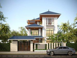 Thiết kế kiến trúc biệt thự 3 tầng mái Nhật đẹp
