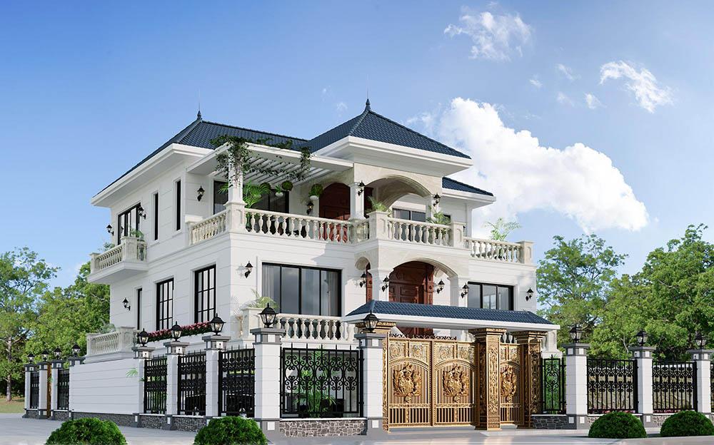 Biệt thự 3 tầng mái Nhật đẳng cấp với kiến trúc uy nghi nhất