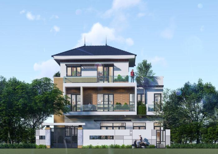Phong cách nhà hiện đại đơn giản cũng có thể sử dụng mái Nhật đầy sang trọng