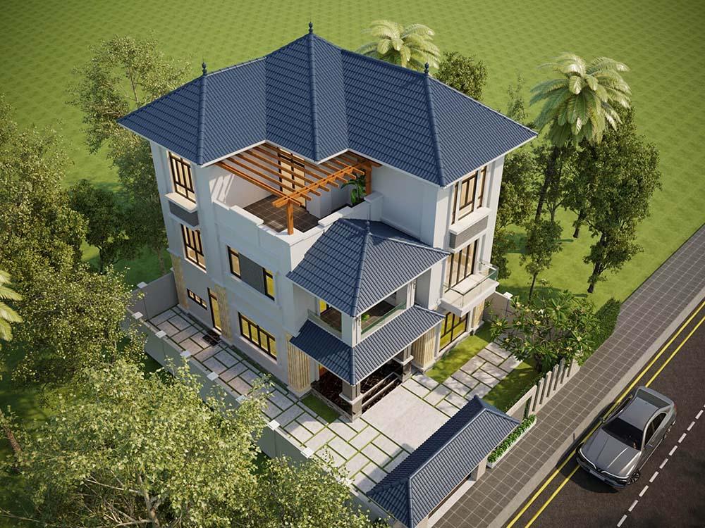 Thiết kế mái nhà có độ dốc để thoát nước tốt