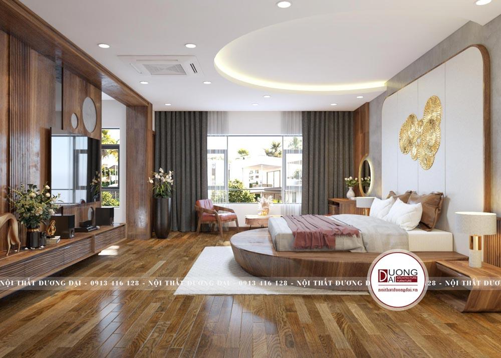 Phòng ngủ được thiết kế đẳng cấp và sang trọng với gỗ óc chó