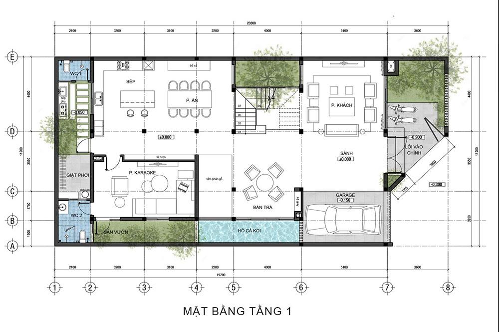 Mặt bằng công năng tầng 1 với phòng khách, phòng bếp lớn cùng phòng karaoke hiện đại